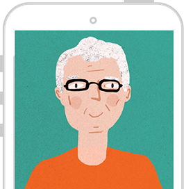 Paul Norris avatar inside an iPhone illustration